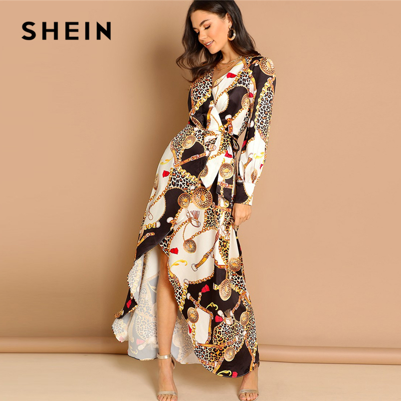 e383249ec4 Detail Feedback Questions about SHEIN Multicolor Mixed Print Surplice Wrap  Satin Dress Deep V Neck Long Sleeve Women Autumn Maxi Fit and Flare Elegant  ...