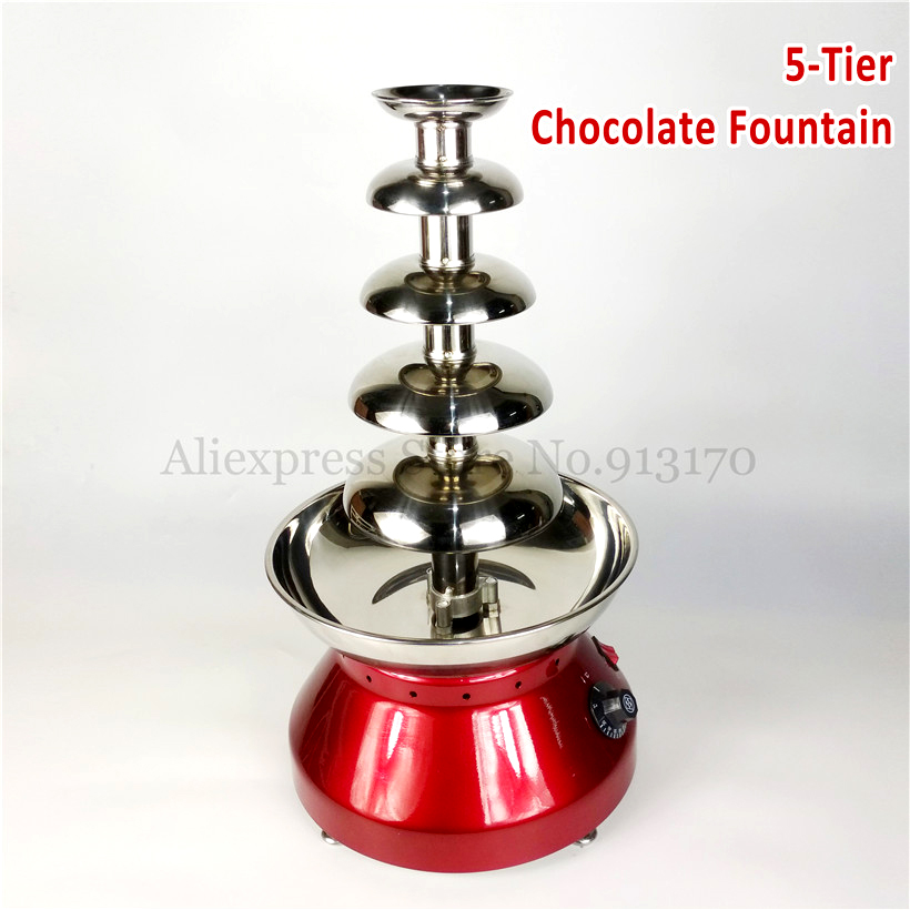 Chocolate Fondue Fountain 5 Tiers Electric Pot Home Kitchen Commercial Wine Red New 230W dynacord dynacord l1800fd