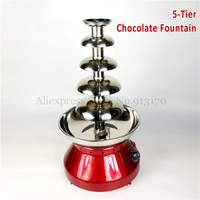 Chocolate Fondue Fountain 5 Tiers Electric Pot Home Kitchen Commercial Wine Red New 230W