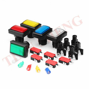 5PCS Rectangular LED Illuminated Push Button 50*33mm Rectangle Arcade LED Lighted Push Buttons with Microswitch for Mame Cabinet