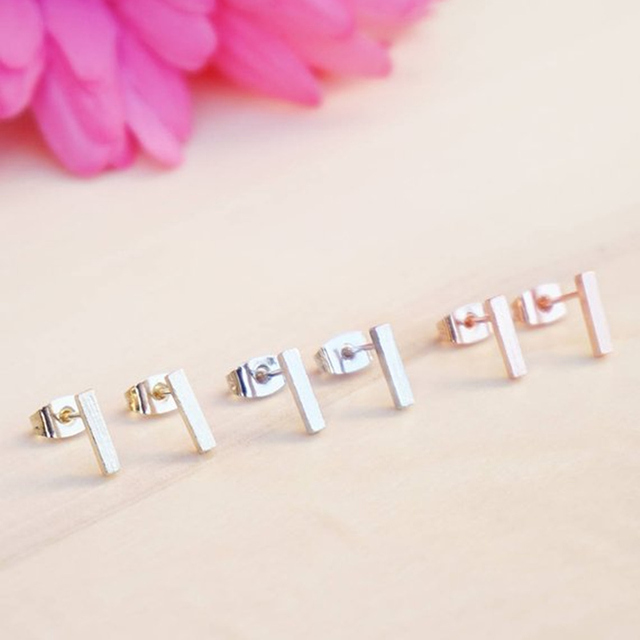 Minimalist Rose Gold Color Square Bar Stud Earrings For Women Fashion Jewelry Stainless Steel T Shape.jpg 640x640 - Minimalist Rose Gold Color Square Bar Stud Earrings For Women Fashion Jewelry Stainless Steel T Shape Brincos Party Gift 2018