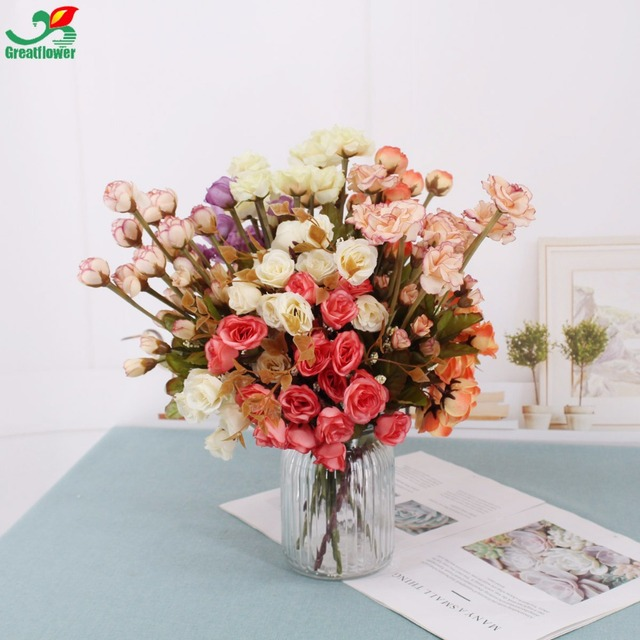 Multiple heads artificial rose flowers with leaf wedding decorations multiple heads artificial rose flowers with leaf wedding decorations silk flower ball office landscape decor hanging mightylinksfo