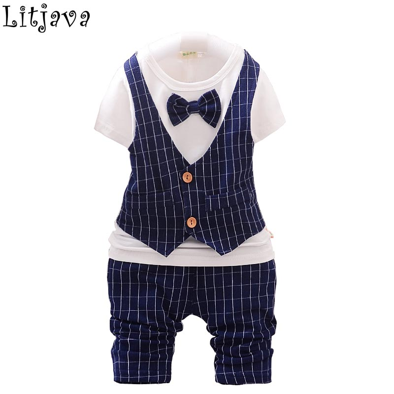 2017 Fashion Baby Boy Clothes Set Gentleman Kids Striped Tops+ Pants Suit Cotton Party Suits For Boys Infant Boy Clothing Set gentleman baby boy clothes black coat striped rompers clothing set button necktie suit newborn wedding suits cl0008