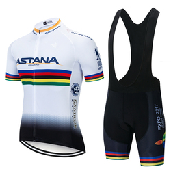 2019 Pro TEAM Bike Clothing ASTANA Cycling Jersey Set White Ciclismo Jersey Short Sleeve Set Cycling Clothing MTB Wear 9D