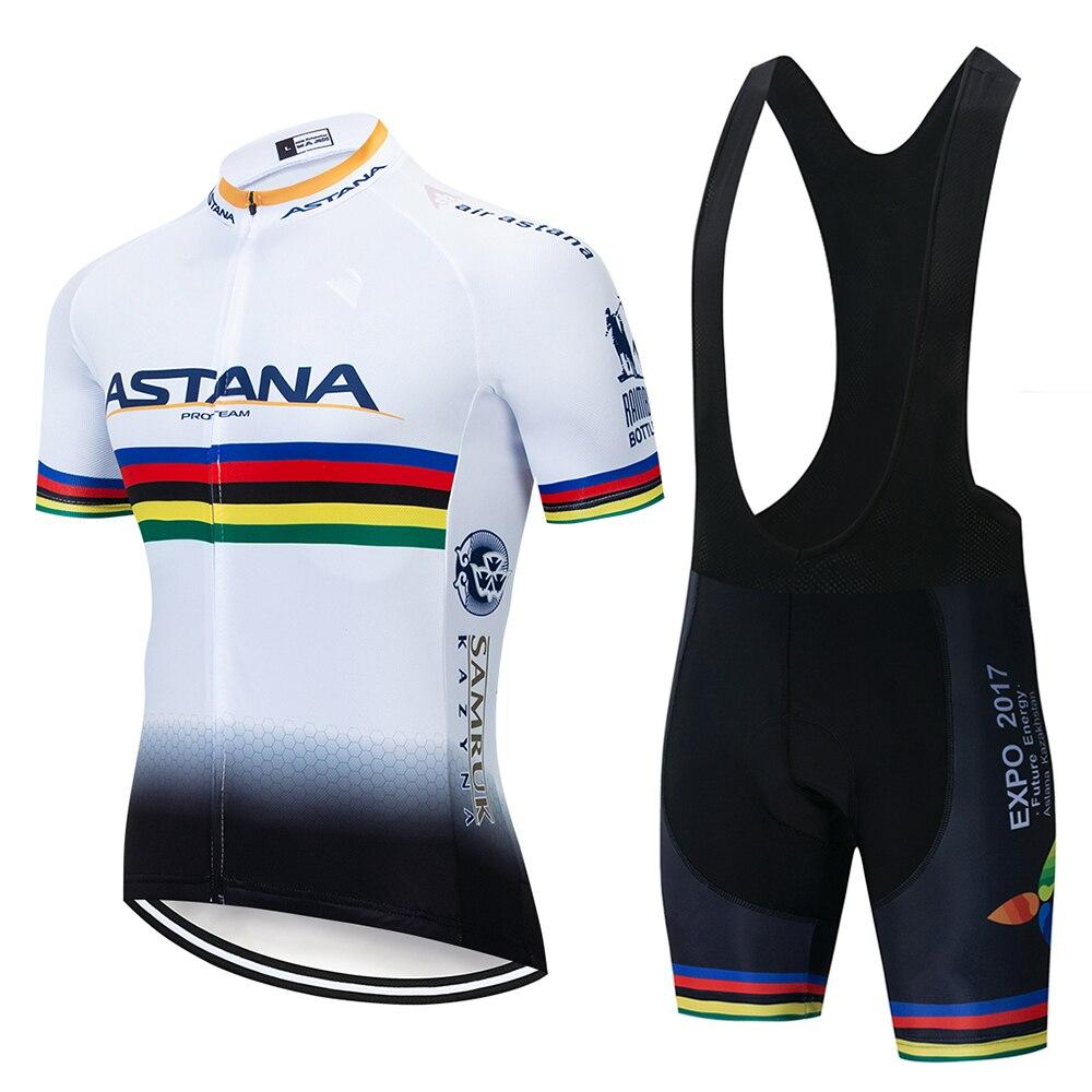 Spor ve Eğlence'ten Bisiklet Takımları'de 2019 Pro TEAM Bisiklet Giyim ASTANA Bisiklet Jersey Seti Beyaz Ciclismo Jersey Kısa Kollu Seti Bisiklet Giyim MTB Giyim 9D title=