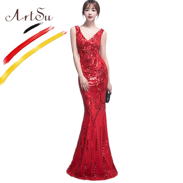 50eee23b05f ArtSu Women V-Neck Sleeveless Floor-Length Maxi Mermaid Dresses Party Dress  Luxury Full Sequin Beading Slim Ball Dress Vestidos