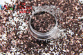 HM2104-231 Black coffee Color metallic luster Hexagon Shape Glitter Sequins for nail art  DIY decoration Halloween's decorations