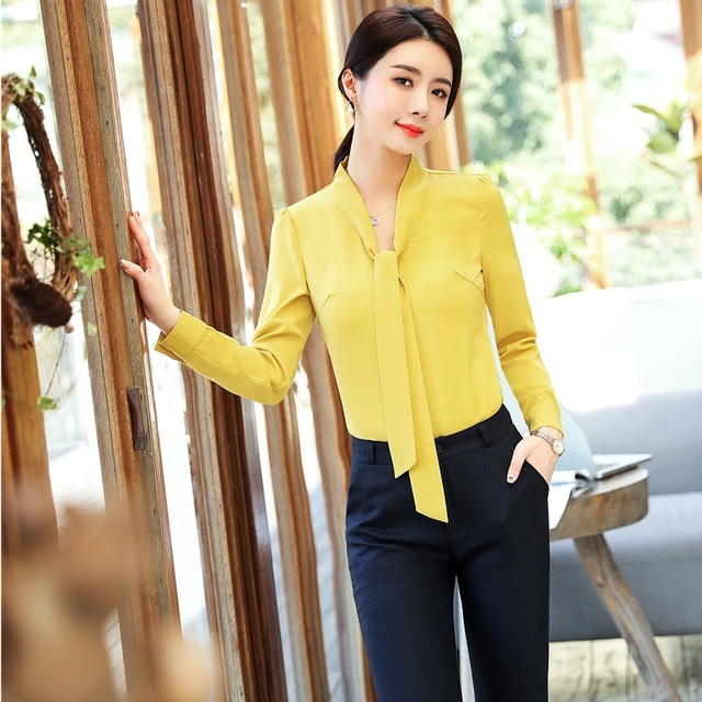 a5cff931709fc Uniform Designs 2018 New Styles Spring Fall Pantsuits With 2 Piece Tops And  Pants Women Female Pants Suits Blouses   Shirts Sets