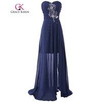 Grace Karin Short Front Long Back Prom Dress 2016 Navy Blue Red Chiffon Spilt Simple Crystal