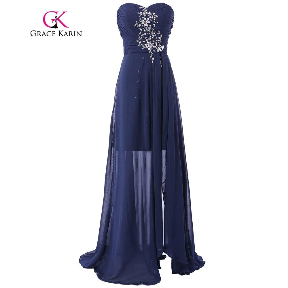 grace karin short front long back prom dress 2017 navy
