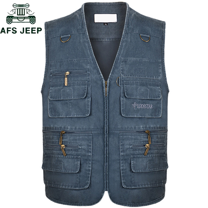 Plus Size 6XL 7XL Male Casual Summer Cotton Denim Vest Men's Sleeveless Jacket Multi Pocket Photograph Waistcoat Chaleco Hombre