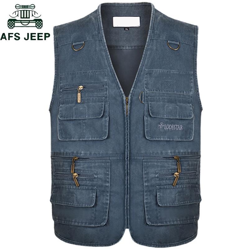 Plus Size 6XL 7XL Male Casual Summer Cotton Denim Vest Men's Sleeveless Jacket Multi Pocket Photograph Waistcoat Chaleco Hombre