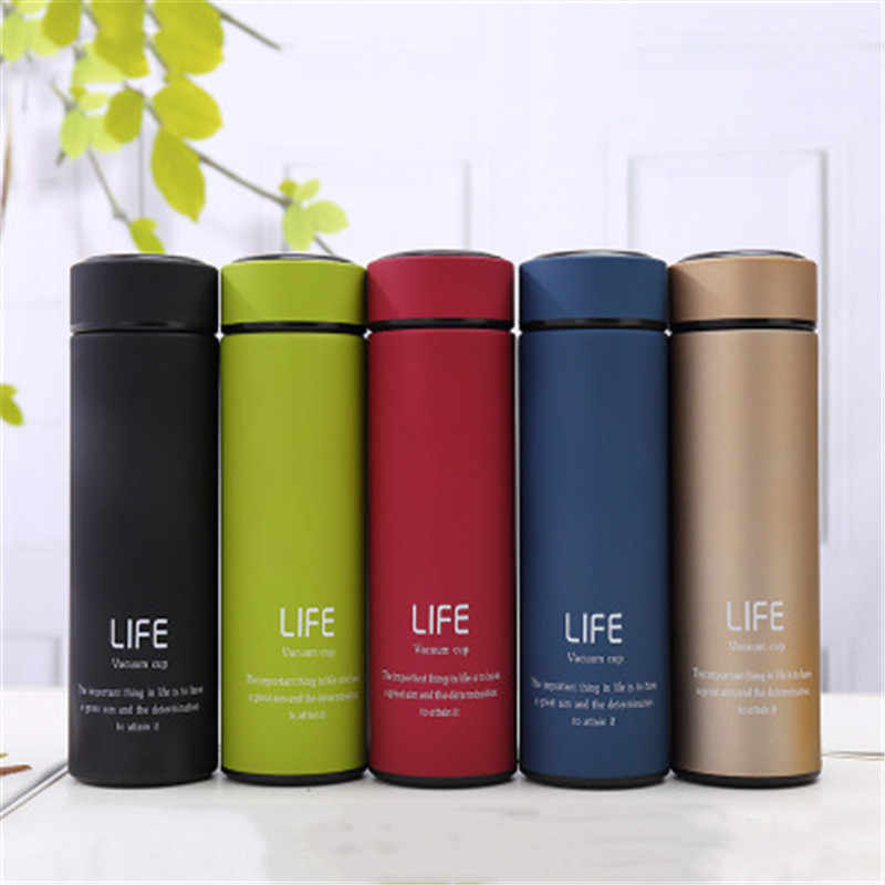 b15c25ba6 500ML Thermos Mug Vacuum Flask With Filter Stainless Steel 304 Thermal Cup  Coffee Mug Water Bottle