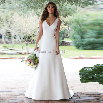 Satin Wedding Dresses 2020 A Line V Neck White Ivory Illusion Button Wedding Bridal Gowns Vestido De Noiva Court Train 2