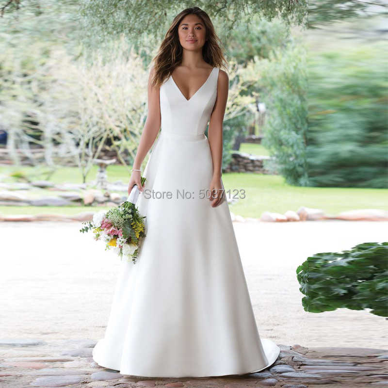 סאטן שמלות כלה 2019 קו V צוואר לבן שנהב אשליה כפתור חתונה כלה שמלות Vestido דה Noiva משפט רכבת
