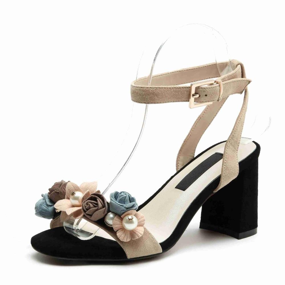 Décoration Chaussures Cuir Boucle Haute L16 Beige bleu Jeune D'été Peep Lenkisen En Femmes Bretelles Lady Casual Toe Mode Véritable Sandales Fleurs qXw7qZxfE