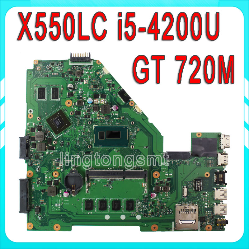 X550LC for ASUS Laptop Motherboard X550LC I5-4200CPU Non-integrated REV2.0 Mainboard full tested OK new laptop motherboard x550cc x550ca onboard i5 cpu for asus non integrated fully tested good price free shipping