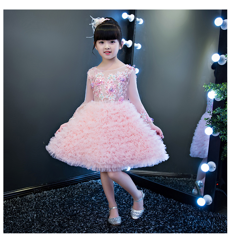 2018 spring children's clothes lace up back embroidery birthday party princess girls wedding dresses ball tutu prom dresses