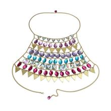Fashion Acrylic crystal and Gold Chain Mesh Female Body Chest ChainWomen Sexy Bling Sequins Metal Crop Tops Summer