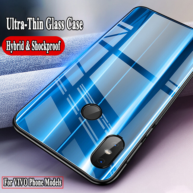 the best attitude a3e70 1ffa3 US $2.12 18% OFF|Luxury Hybrid Soft Silicone Bumper For VIVO V75 V65 V66  V67 Y55 Silm 9H Tempered Glass Hard Back Cover for For VIVO V5 V7 Plus-in  ...