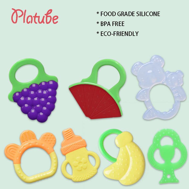 Fruit baby teether silicone clip cartoon rubber baby teeth training gear fruit food teething gel pacifier teething toys