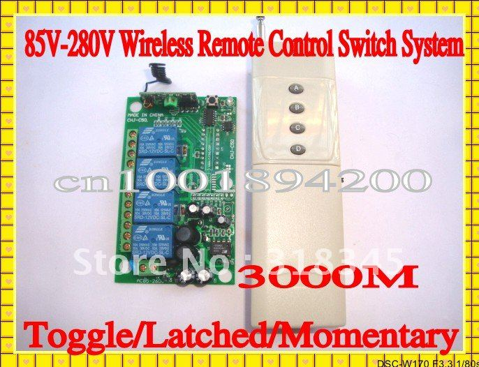 85V-280V Wide Voltage 220V4CH Way  Long Range  Power RF wireless remote control  Switch system transmitter&receiver 4000W 3000M 85v 250v wide range output rf wireless remote control system 1 receiver