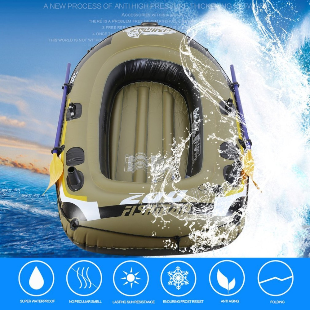 3 Person fish boat Inflatable Rubber boat fishing kayak PVC Drifting Rescue Raft Boat Two Way Electric Pump Air Pump Paddles
