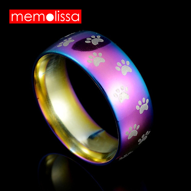 MeMolissa Jewelry Fashion Cute Dog Cat Paw rings Stainless Steel Wedding Band Ra