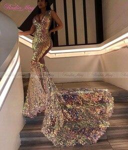 Image 5 - Robe de bal pour filles noires, robe de bal pour filles noires, en paillettes scintillantes, col en v, robe de soirée africaine pour femmes, grande taille