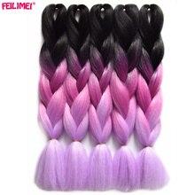 Feilimei Japanese Fiber Jumbo Braids 24″ 60cm 100g/pc Ombre Braiding Hair Bulk Bundles Synthetic Crochet Hair Extensions