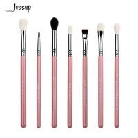 Basic Eye Brushes Set Blend Shadow Angled Eyeliner Smoked Bloom Makeup Brush Pink Silver