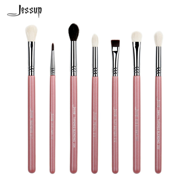 Jessup 7pcs Pink/Silver Professional Makeup Brush Set Beauty Eyeshadow Blend Shadow Eyeliner Smoked Sloom Cosmetics kit make up