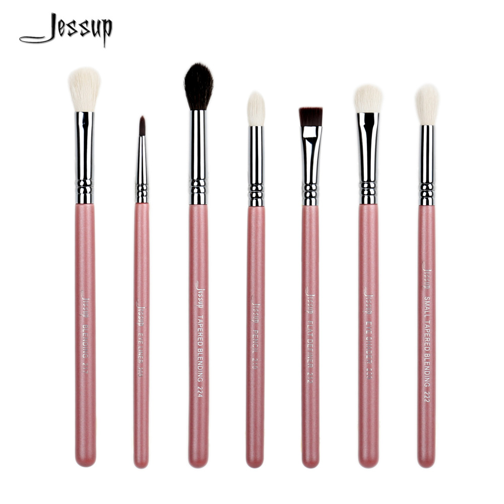 Jessup 7pcs Pink/Silver Professional Makeup Brushes brush set Beauty Eyeshadow Blend Shadow Eyeliner Smoked Cosmetics make up professional makeup brush 7pcs