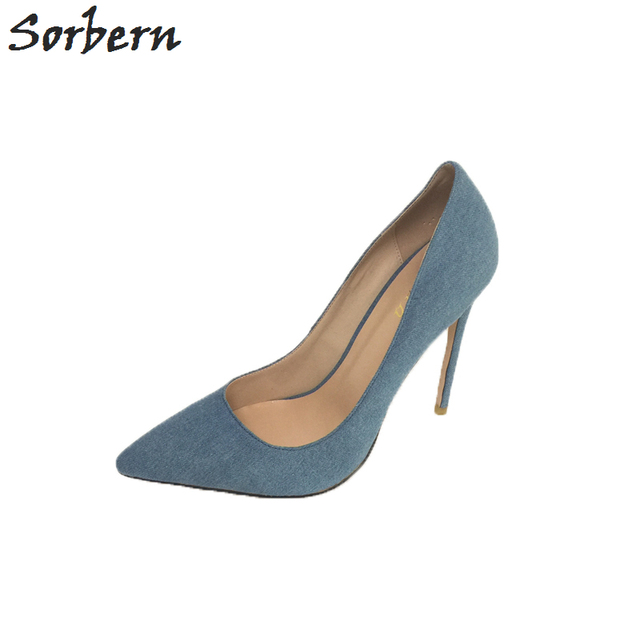 Sorbern Denim Blue Pump Shoes Women Pointed Toe Stilettos Ladies Shoes  Heels Escarpins Sexy Size Eu34-46 Custom Colors e53230cdd4f8