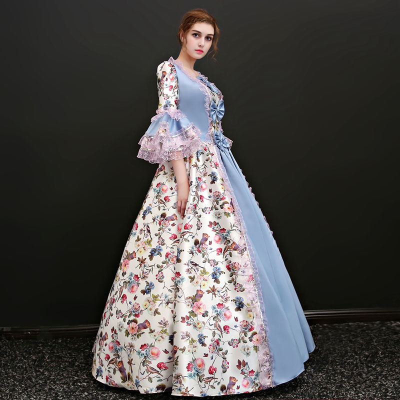 New Arrival Light Blue Square Collar Half Flare Sleeve Floral Printed Pattern European Court Marie Antoinette Long Party Dresses