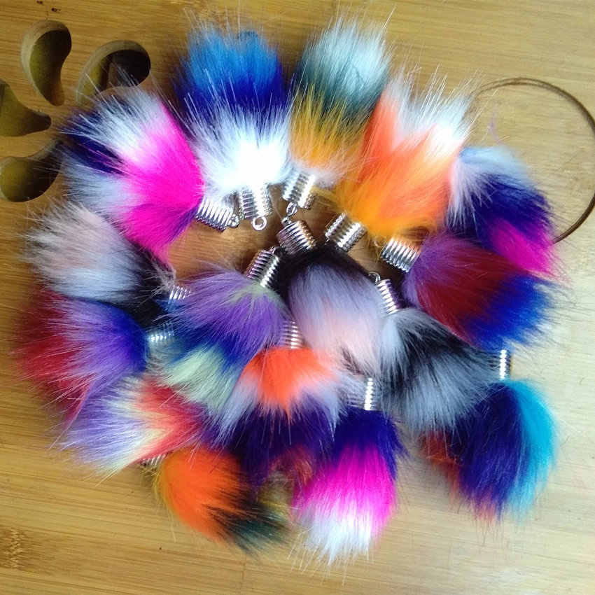 12pcs/Lot Colorful Flower Buds Design Faux Rabbit Fox fur Pompon Pendant for Chain Bag Chain Curtain Tassel Handmade Crafts Gift