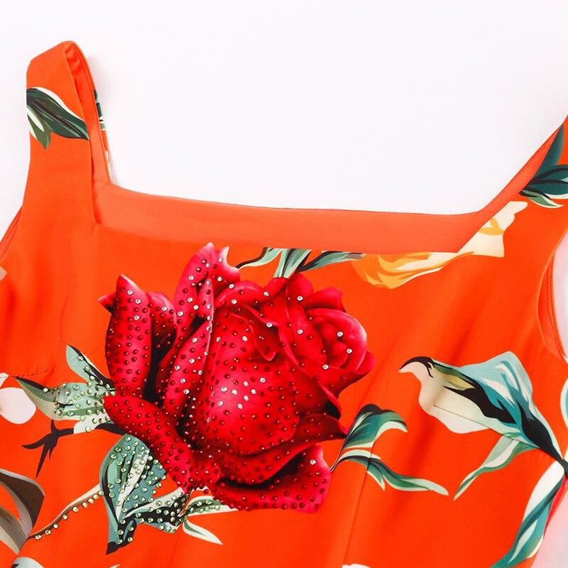 D'été Sangle Longue Casual Truevoker Floral Designer Orange Fantaisie Femmes Maxi Qualité Imprimé De Haute Robe Diamant g6n4nwxU