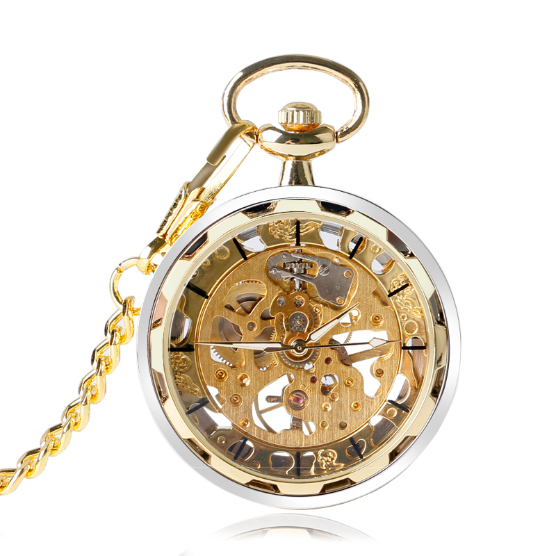 Cool Open Face Pocket Watch Mechanical Hand Winding Skeleton Vintage Golden Style Chain Gift For Men Women Birthday P2005C