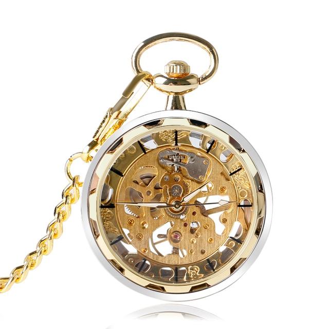 Cool Open Face Pocket Watch Mechanical Hand Winding Skeleton Vintage Golden Style Chain Gift For Men Women Birthday P2005C