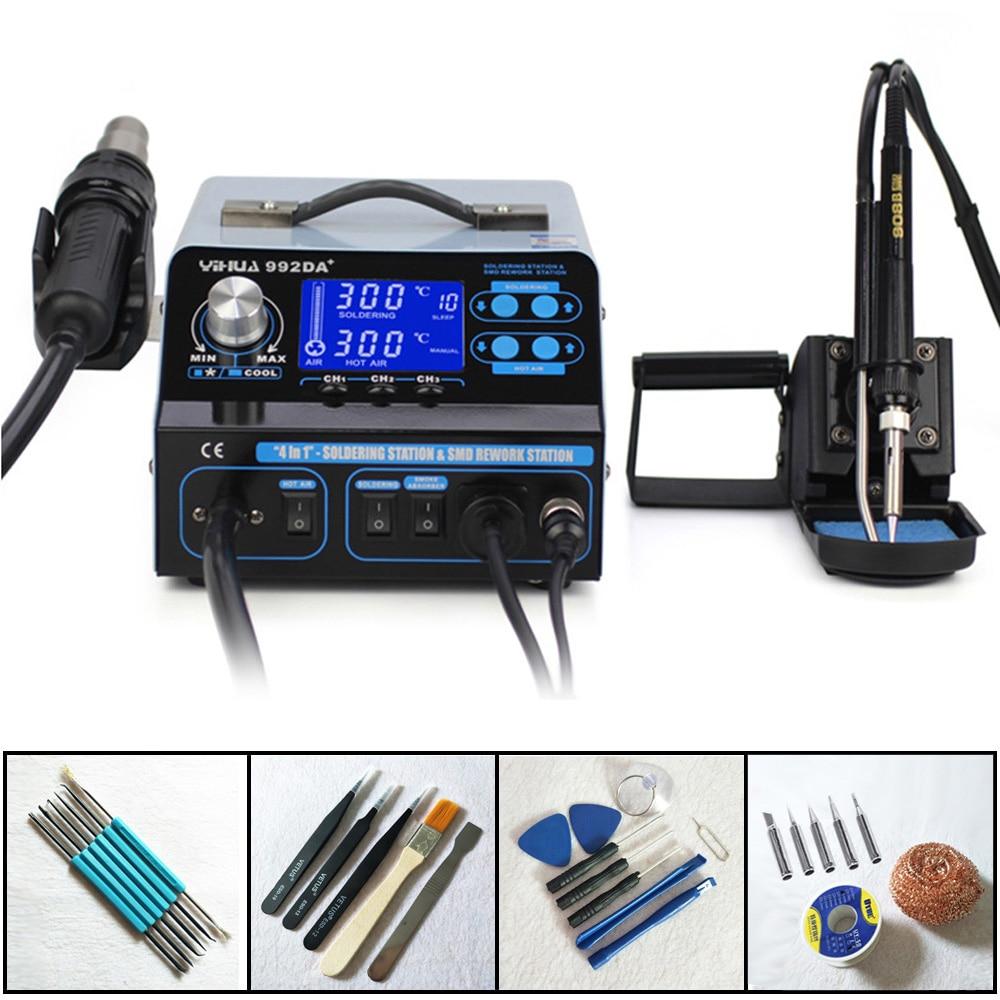 YIHUA 992DA 4 In 1 Smart Smoking LCD Digital Display Hot Air Soldering Station Smoke Vacuum
