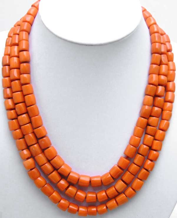 GENUINE NATURAL 3 Strands Thick Slice Pink Coral Necklace with Big Red Coral Clasp-5507 wholesale/retail Free shipping natural red coral with silk knot design necklace