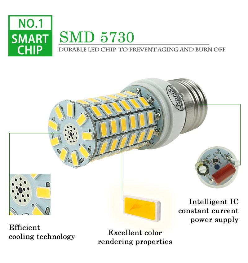 ECO CAT 2017 Full NEW LED lamp E27 E14 69leds 72leds 106leds SMD 5730 Corn Bulb 220V lamparas led Chandelier LED Spotlight 2