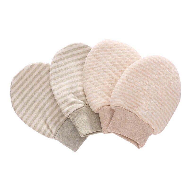 ღ ღ2 pares bebé algodón orgánico No cero rayas guantes Handguard ...