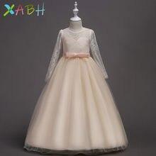 6a6e4534e5a3f EAZII çocuk Dantel Nakış Akşam Parti TUTU Elbise Kız Uzun Kollu Elbise  Çocuk Çiçek Düğün Prenses Elbise Doğum Günü