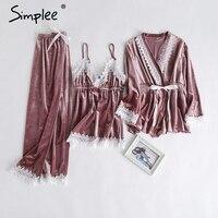 Simplee Gold velvet two piece pajamas set 2018 Autumn winter lace splice plus size sleepwear pyjamas Women unicorn pajamas