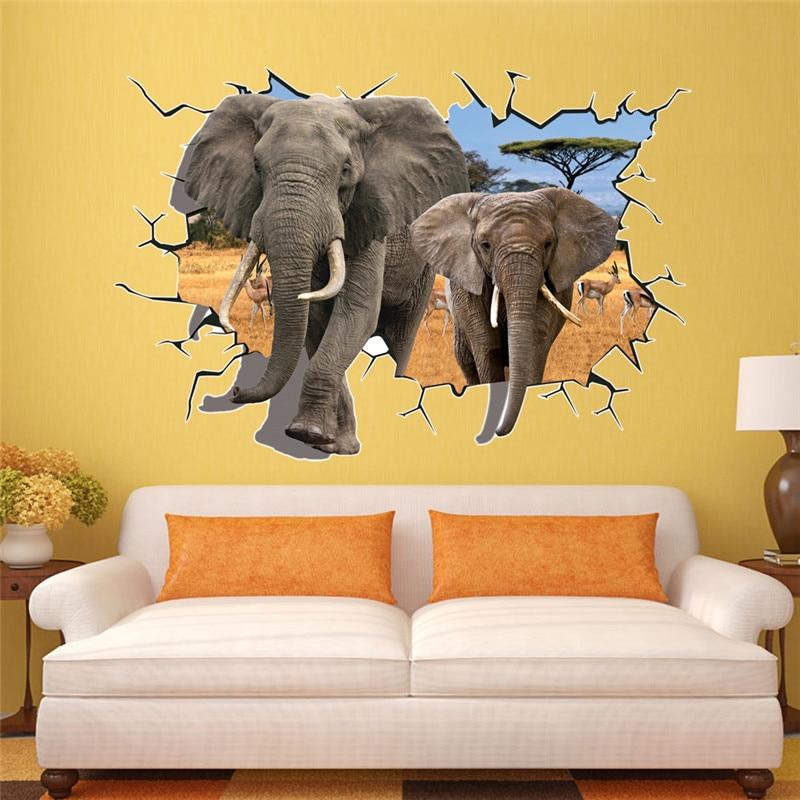 Large Sticker 3D Elephants Wall Stickers Home Decor Sticker For Kids ...