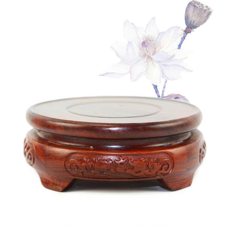 6,5-11,5 см диаметр красного сандалового дерева двойная ваза дракон резной дракон камень Будда ладан цветочный горшок деревянный чайник с резьбой база