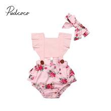 Летняя одежда для малышей Детские комбинезоны для маленьких девочек с оборками короткий рукав цветочный комбинезон принцессы повязка на голову, комплект из 2 предметов на возраст от 0 до 24 месяцев