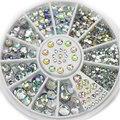 Japonés rueda de uñas de arte de colores AB rhinestone de acrílico de la mezcla tamaños ronda piedras de cristal