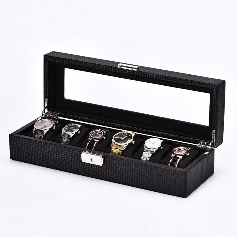 5/6/10/12 Slot/grille montre boîte en Fiber de carbone en cuir affichage en bois conteneur boîte de rangement voyage organisateur de haute qualité
